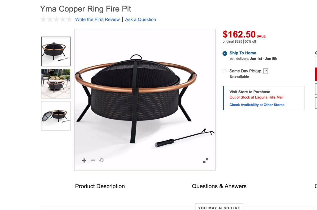 best fire pit from jcpenny